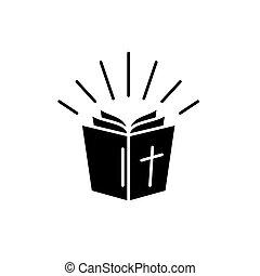 ベクトル, 概念, 隔離された, イラスト, 印, バックグラウンド。, 聖書, 黒, アイコン, シンボル