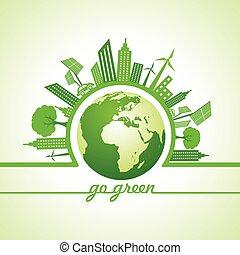 ベクトル, 概念, eco, -, イラスト, エコロジー, 都市の景観