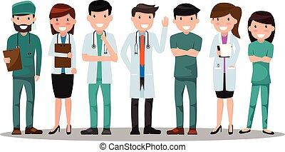 ベクトル, 概念, illustration., 医者, presentation., 医学, ポーズを取りなさい, providers., セット, 様々, 広告, ヘルスケア, 健康, 看護婦, ∥あるいは∥, 心配
