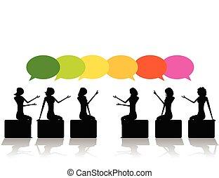 ベクトル, 概念, presentation., ビジネス, meeting., シルエット, イラスト