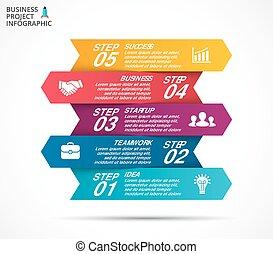 ベクトル, 概念, processes., ビジネス, infographic, グラフ, オプション, 矢, 図, 部分, チャート, presentation., 5, ステップ