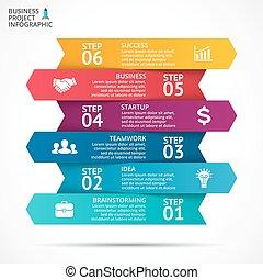 ベクトル, 概念, processes., ビジネス, infographic, グラフ, オプション, 矢, 図, 部分, チャート, presentation., 6, ステップ