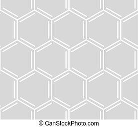 ベクトル, 櫛, seamless, pattern., 幾何学的, 白, 六角形, パターン, 上に, グレーのバックグラウンド