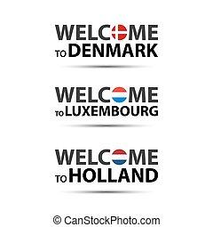 ベクトル, 歓迎, オランダ, アイコン, 単純である, デンマーク, 現代, 隔離された, ルクセンブルク, シンボル, luxembourgish, 背景, イラスト, オランダ語, 旗, 白, デンマーク