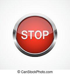 ベクトル, 止まれ, button., イラスト, 赤