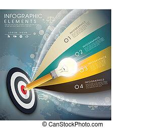 ベクトル, 正確, infographic, 考え, 要素