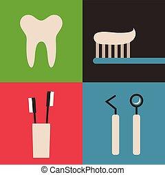 ベクトル, 歯医者の, セット, イラスト, アイコン