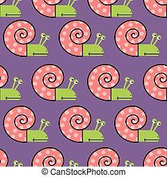 ベクトル, 殻, パターン, 背景, ピンク, かたつむり, 紫色, texture., seamless, かわいい, 子供, 生地