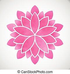 ベクトル, 水彩画, デザイン, flower., style., ロータス, グラフィック