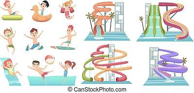 ベクトル, 水, 子供, 水泳, 魅力, アクア色, スライド, 跳躍, プール, 特徴, 映像, 水泳, 幸せ, 漫画, リング, park.