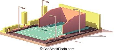 ベクトル, 法廷, 低い, poly, racquetball