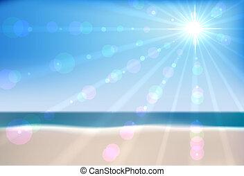 ベクトル, 浜, 夏, file., eps10, 海, バックグラウンド。