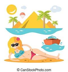 ベクトル, 浜, girl., 平ら, スタイル, カラフルである, 漫画, illustration.