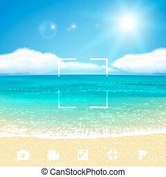 ベクトル, 海景, 浜。, eps10., イラスト