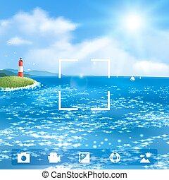 ベクトル, 海景, eps10., lighthouse., イラスト