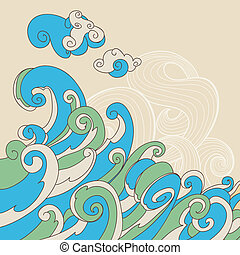 ベクトル, 海, レトロ, 背景, 波