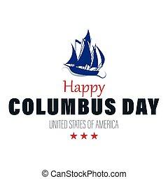 ベクトル, 海, 船, 航海, イラスト, コロンブス, 浮く, waves., day., 幸せ