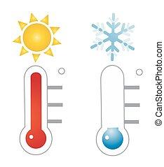 ベクトル, 温度計, イラスト, アイコン