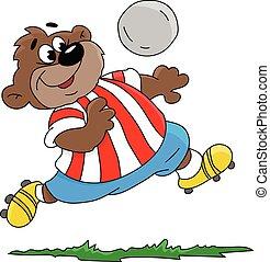 ベクトル, 漫画, イラスト, サッカー, 遊び, 熊