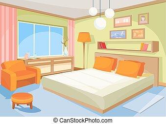ベクトル, 漫画, イラスト, 内部, orange-blue, 寝室, a, 反響室, ∥で∥, a, ベッド, 柔らかい, 椅子