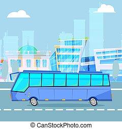 ベクトル, 漫画, バス, 観光客, 運転, 都市の景観, illustration., 都市