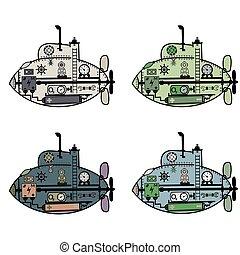 ベクトル, 漫画, 図画, 潜水艦
