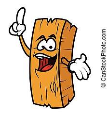 ベクトル, 漫画, 木, 丸太, 笑い