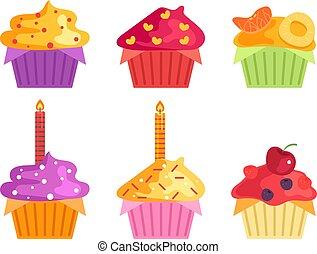 ベクトル, 漫画, birthday, collection., cupcake, 隔離された, イラスト, デザイン, セット, 平ら, 甘い, グラフィック, 味が良い