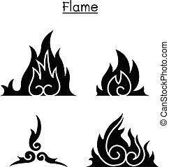 ベクトル, 炎, 焼跡, 火