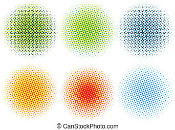 ベクトル, 点, カラフルである, halftone