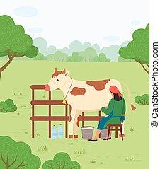 ベクトル, 牛, 田舎, 女, 農夫, 搾り出すこと