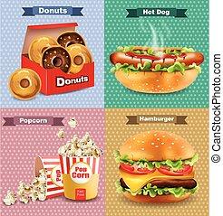 ベクトル, 犬, セット, 食物, 速い, フランス語, 現実的, 暑い, fries., バーガー, イラスト, 3d