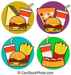 ベクトル, 犬, セット, combos, アイコン, 食物, ∥含んでいる∥, フライド・ポテト, 暑い, 速い, soda., サンドイッチ, イラスト, ハンバーガー