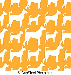 ベクトル, 犬, 動物パターン, シルエット, seamless
