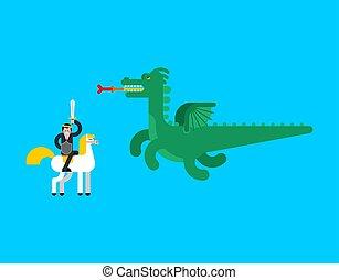 ベクトル, 王子, dragon., battle., 妖精, イラスト
