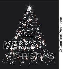ベクトル, 現代, イラスト, 創造的, 木。, クリスマス, 照ること