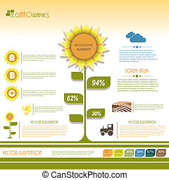 ベクトル, 現代, イラスト, infographic, 緑, テンプレート, design.