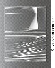 ベクトル, 現実的, 伸張, 包むこと, スタイル, フィルム, イラスト, プラスチック