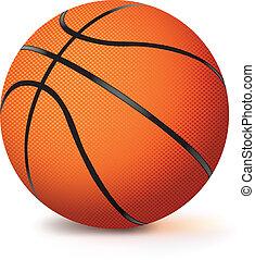 ベクトル, 現実的, 白, バスケットボール, 隔離された