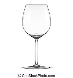 ベクトル, 現実的, 空, ワイン ガラス, アイコン, 隔離された, 白, バックグラウンド。, デザイン,...
