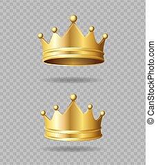 ベクトル, 現実的, 詳しい, 金, set., 王冠, 3d