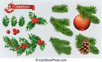 ベクトル, 現実的, decorations., クリスマス, 西洋ヒイラギ, ベリー, セット, トウヒ, 3d, アイコン, 針葉樹, 赤, 安っぽい飾り, cone.
