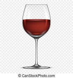 ベクトル, 現実的, wineglass, ∥で∥, 赤ワイン, アイコン, 隔離された, 上に, 透明,...