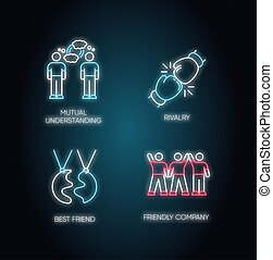 ベクトル, 理解, サイン, 友人, 色, 外の, 最も良く, 味方, 相互, ネオンライト, 白熱, 競争, rgb, タイプ, effect., イラスト, アイコン, company., 隔離された, set., 社会, connection., 友情