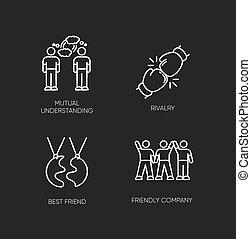 ベクトル, 理解, 友人, 黒, 最も良く, 味方, 相互, 白, チョーク, 競争, セット, タイプ, バックグラウンド。, イラスト, 黒板, アイコン, company., 隔離された, 社会, connection., 友情