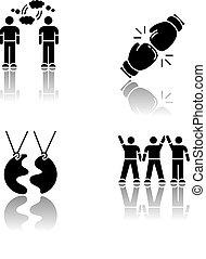 ベクトル, 理解, 友人, 黒, glyph, symbols., 最も良く, 味方, 相互, スペース, 接続, 白, 競争, 低下, タイプ, イラスト, アイコン, company., 隔離された, 影, set., 社会, 友情