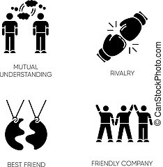 ベクトル, 理解, 友人, 黒, glyph, symbols., 最も良く, 味方, 相互, 接続, シルエット, space., 白, 競争, セット, タイプ, アイコン, company., 隔離された, イラスト, 社会, 友情