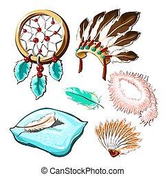 ベクトル, 生活, セット, illustration., 文化, 現代, 羽, 隔離された, バックグラウンド。, オブジェクト, 古代, 白い鳥