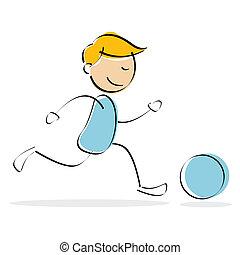 ベクトル, 男の子, サッカー, 遊び