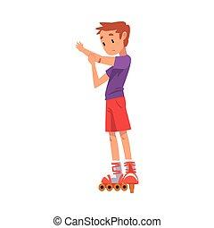 ベクトル, 男の子, スケート, 漫画, 子供, rollerblading, 白, ローラー, かわいい, 子供, イラスト, 活動, 背景, 屋外